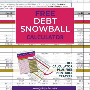 image of spreadsheet with title text overlay - Free Debt Snowball Calculator