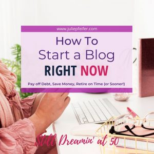 image of woman at computer with title text overlay - How to Start a Blog Right Now