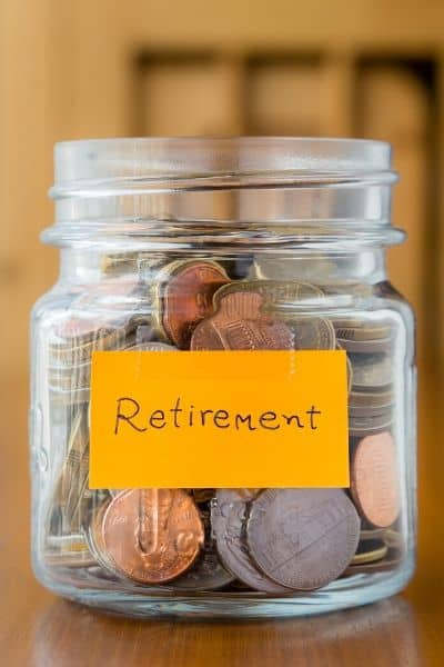 image of jar with change in it and Retirement label