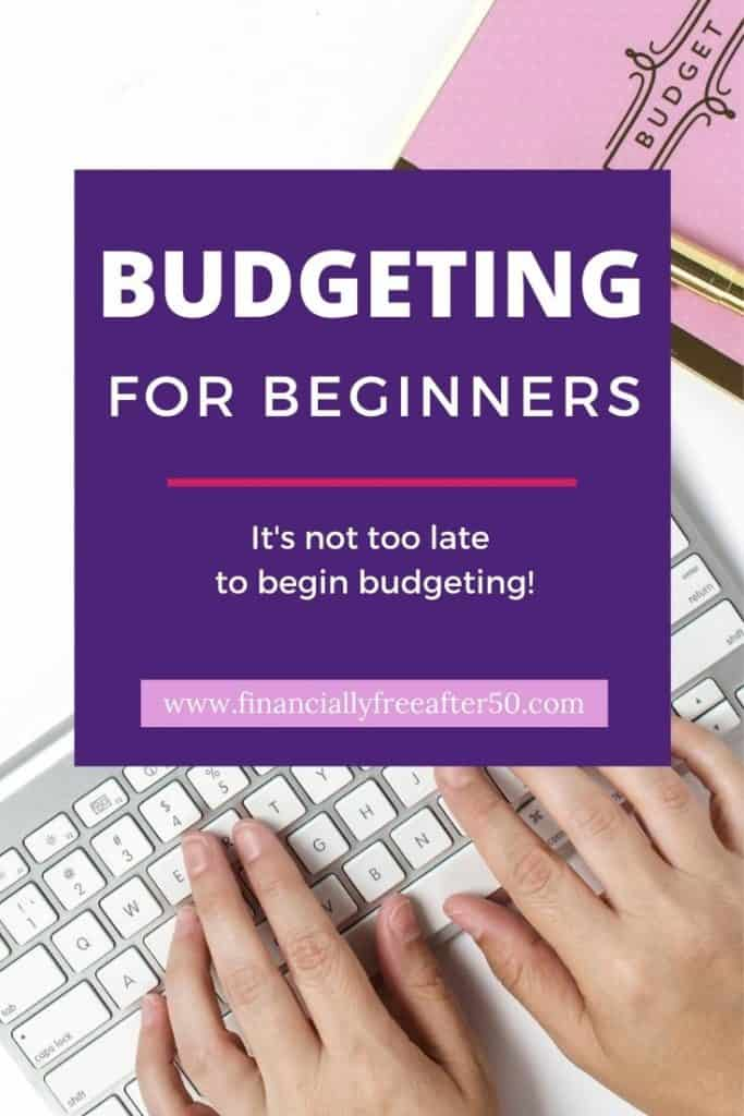 image of woman's hands on a keyboard with title text overlay - Budgeting for Beginners