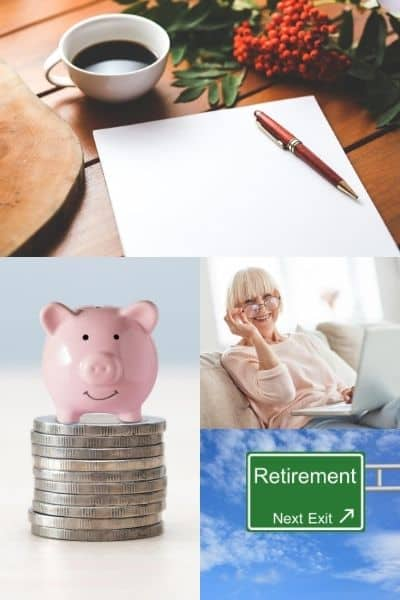 collage of people working on laptops and retirement plan signs with title text overlay