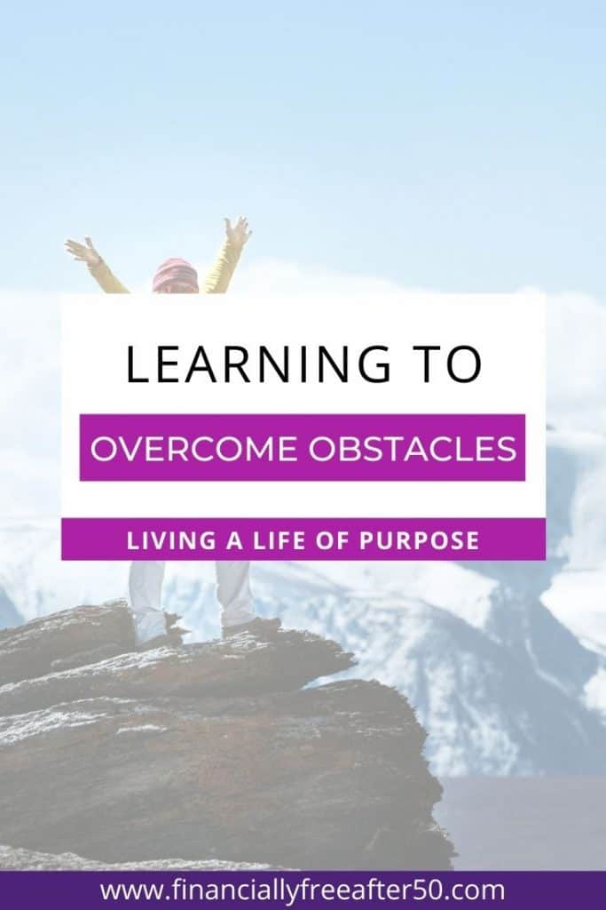 image of woman with outstretched arms on edge of cliff with title text overlay - Learning to Overcome Obstacles