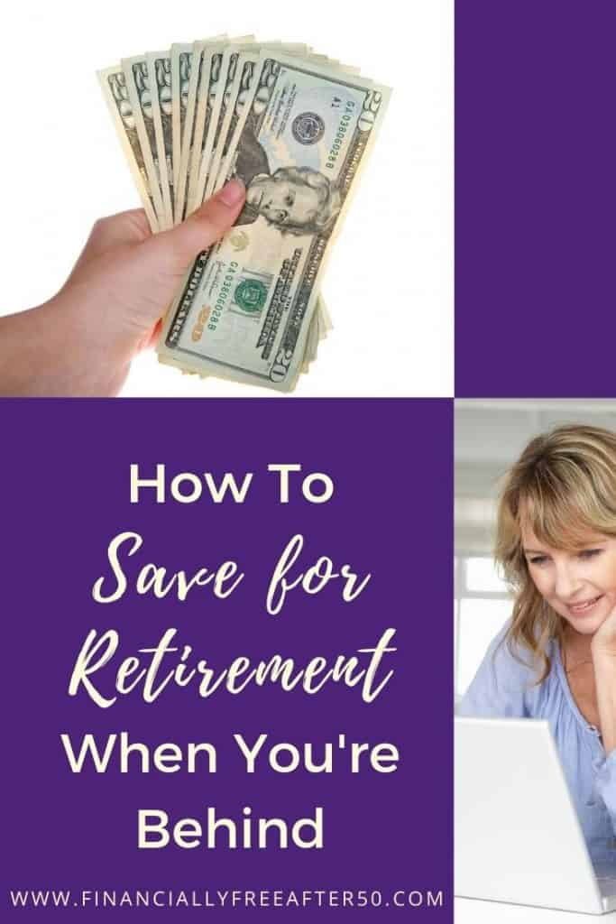 image of woman smiling, another image of woman's hand holding cash and text title overlay - How to Save For Retirement When You're Behind