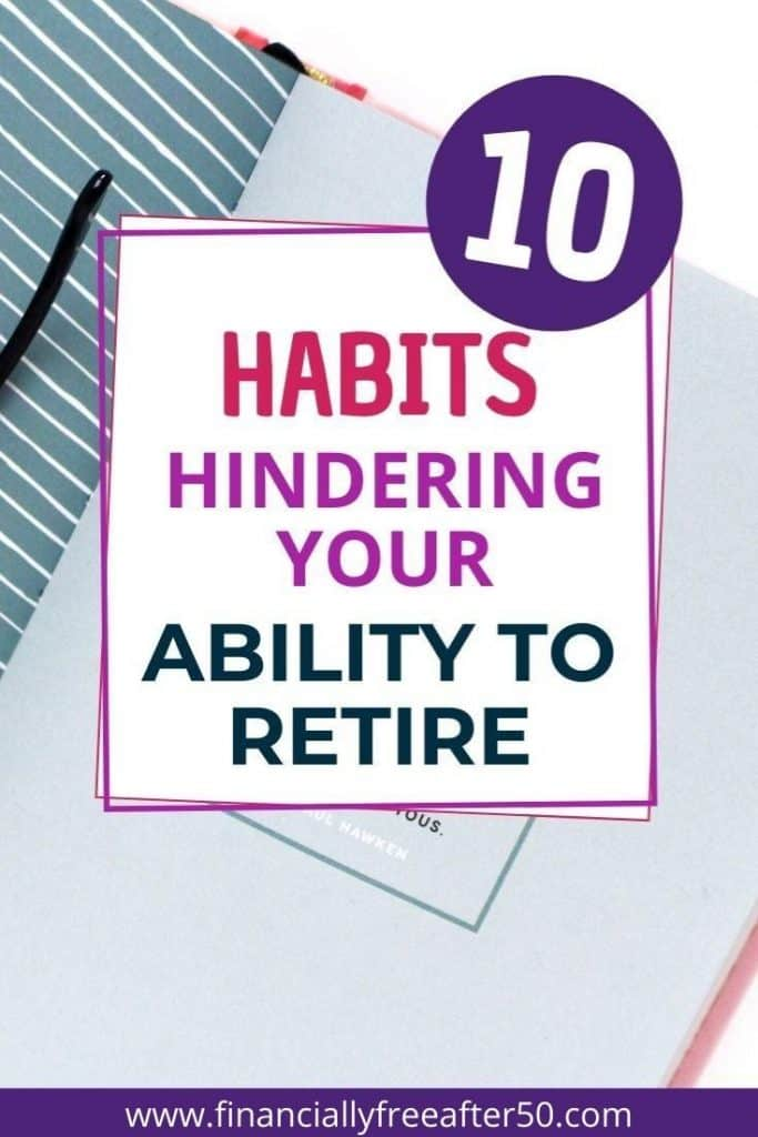 image of desk with floral office supplies and title text overlay - 10 Habits Hurting Your Ability to Retire