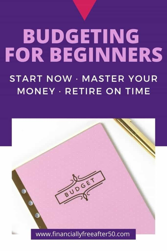 image of lavender budget notebook with title text overlay - Budgeting for Beginners