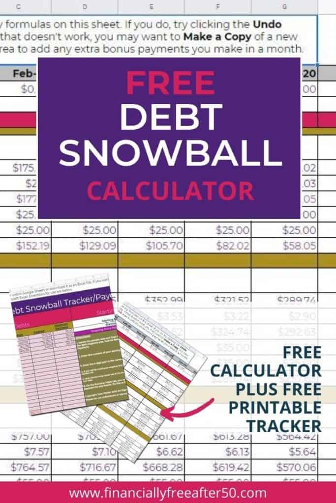 image of debt snowball calculator with title text overlay - Free Debt Snowball Calculator for Google Sheets