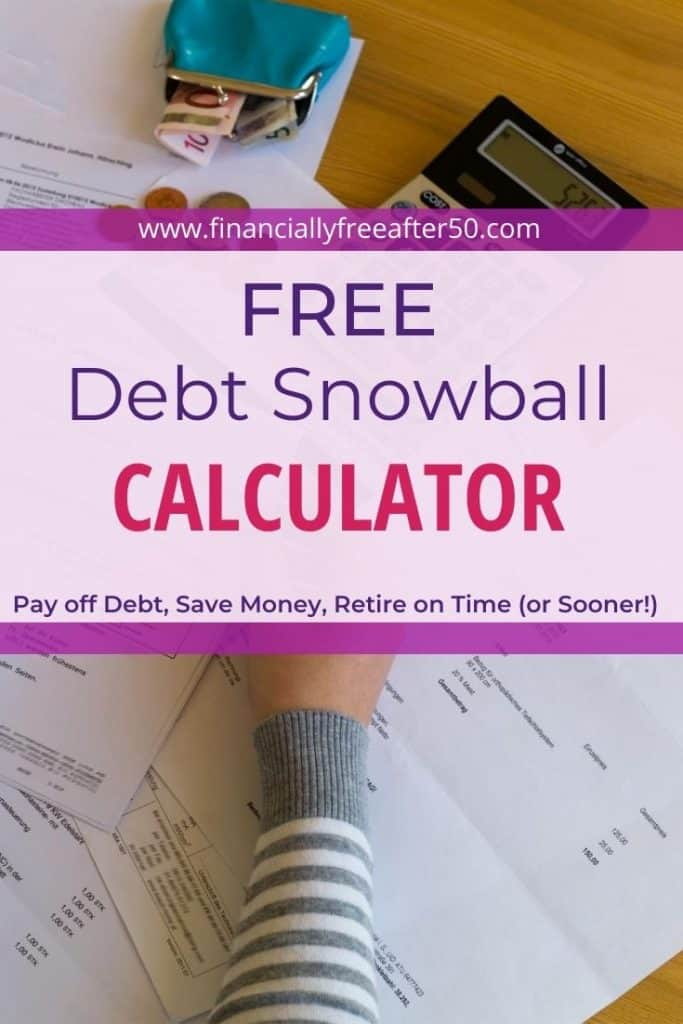 image of desktop and woman's arm with woman working on finances and title text overlay - Free Debt Snowball Calculator for Google Sheets