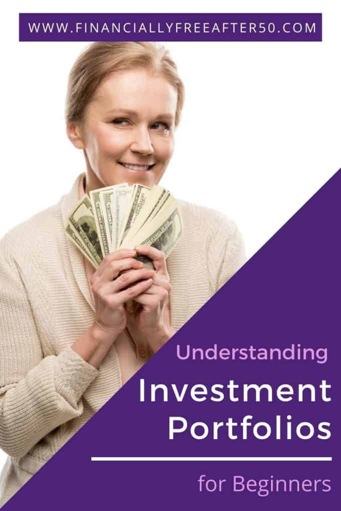 image of woman holding cash with title text overlay - Understanding Investment Portfolios for Beginners